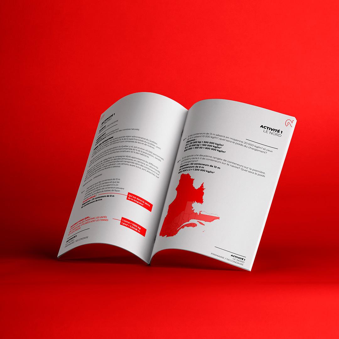 Mise en page et design graphique pour l'identité visuelle des trousses pédagogiques de l'Institut maritime du Québec - Studio Paysage - Page Projets - IMQ
